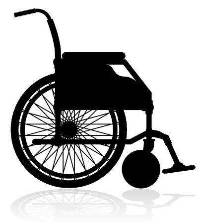 wheelchair: wheelchair black silhouette vector illustration isolated on white