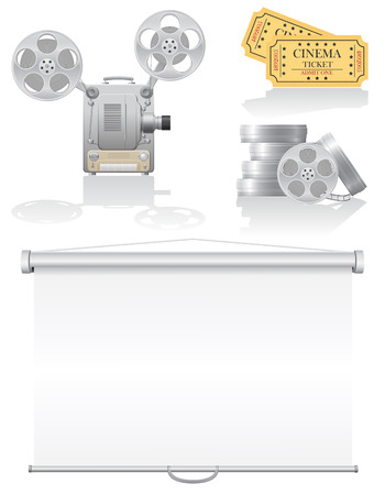 set cinema icons vector illustration isolated on white  illustration
