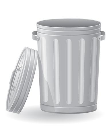prullenbak vector illustratie geïsoleerd op een witte achtergrond Stockfoto