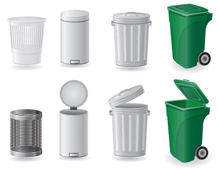 camion de basura: bote de basura y basura set iconos ilustraci�n vectorial aislados en fondo blanco