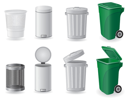 trash can and dustbin set icons vector illustration isolated on white background