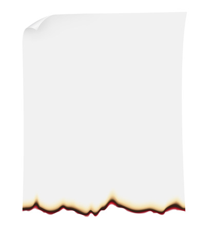 burning paper: searing paper illustration isolated on white