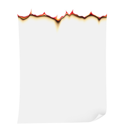 burning paper: burning paper illustration isolated on white  Stock Photo
