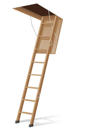 scuttle: wooden ladder to the attic illustration