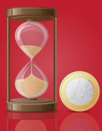 old retro hourglass and one coin euro vector illustration isolated on red background Stock Illustration - 23869063