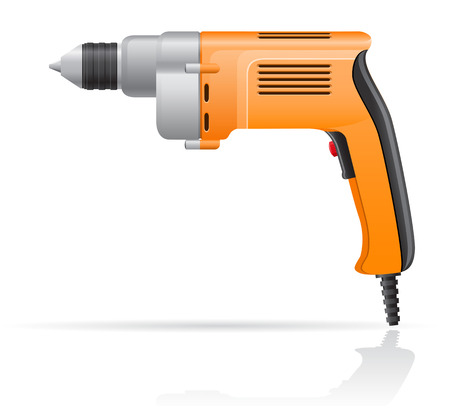 gimlet: electric drill vector illustration isolated on white background