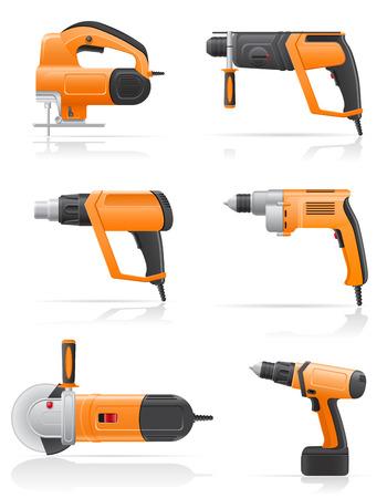 gimlet: electric tools set icons vector illustration isolated on white background Stock Photo