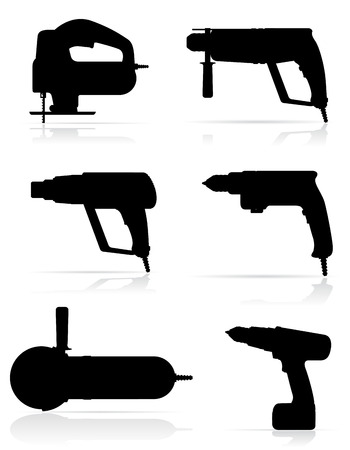 gimlet: electric tools black silhouette set icons vector illustration isolated on white background
