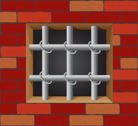 penitentiary: prison bars on brick wall vector illustration Stock Photo