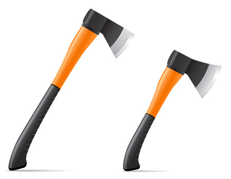 tool axe with  plastic handle vector illustration isolated on white background illustration