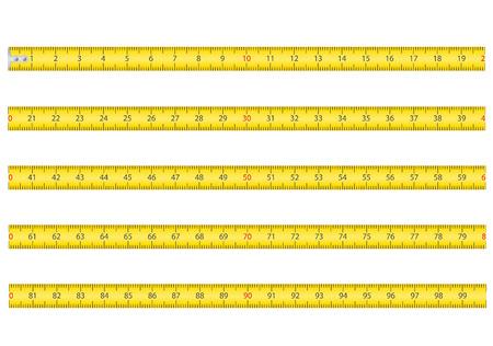 pravítko: měřicí páska na nářadí ruletě vektorové ilustrace izolovaných na bílém