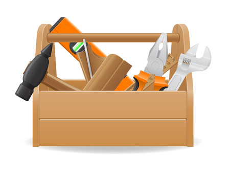 wooden tool box vector illustration isolated on white background illustration