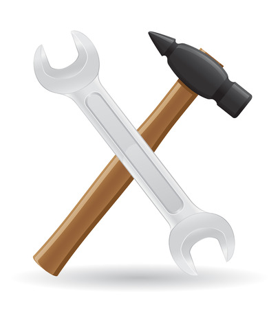 assist: tools hammer and spanner icons vector illustration isolated on white background