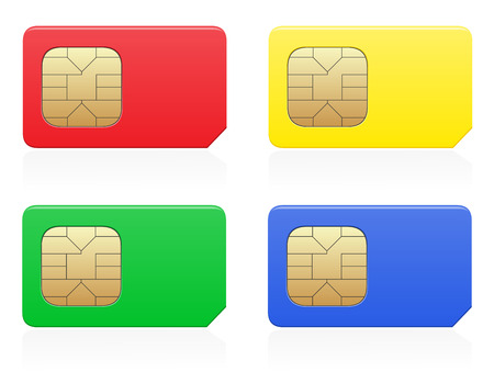 sim card color vector illustration isolated on white  illustration
