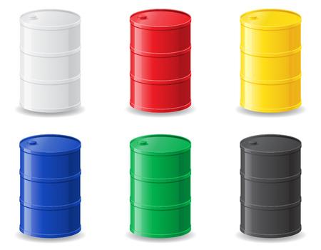 barril de petróleo: barriles metálicos de color ilustración aislado en blanco Foto de archivo