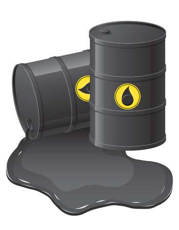 black barrels with spilled oil illustration isolated on white illustration