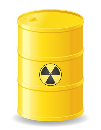toxic barrels: yellow barrel of radioactive waste illustration isolated on white Stock Photo