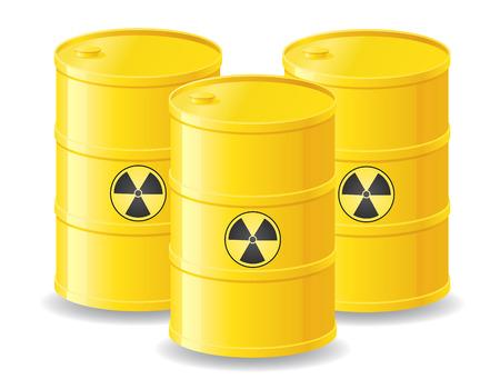 yellow barrels of radioactive waste illustration isolated on white Stock Illustration - 24640920