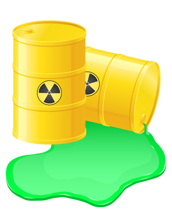 yellow barrels spilled radioactive waste illustration isolated on white illustration
