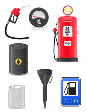 fuel set icons illustration isolated on white illustration
