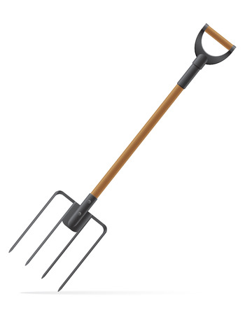 garden tool pitchfork vector illustration isolated on white background