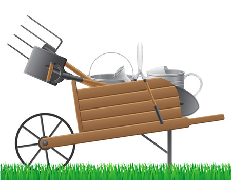 wooden old retro garden wheelbarrow with tool vector illustration isolated on white background illustration