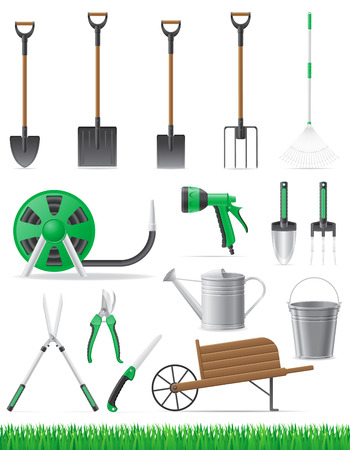 set garden tool vector illustration isolated on white background illustration