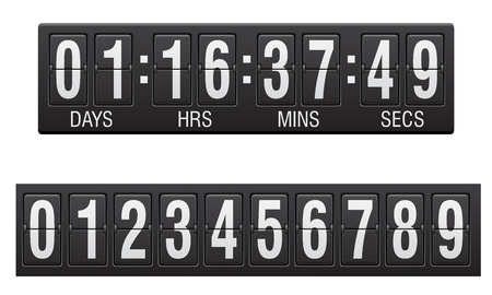 countdown: scoreboard countdown timer vector illustration isolated on white background Stock Photo