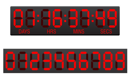 indicator board: scoreboard digital countdown timer vector illustration isolated on white background