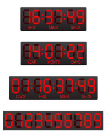 digital clock: scoreboard digital countdown timer illustration isolated on white background