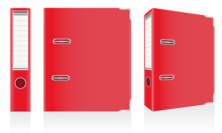 folder red binder metal rings for office illustration isolated on white