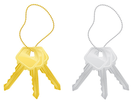 set of keys: set keys door lock vector illustration isolated on white background Stock Photo