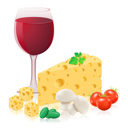 still life with cheese and wine vector illustration isolated on white background illustration