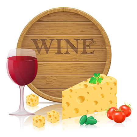 barre: still life with cheese and wine vector illustration isolated on white background Stock Photo