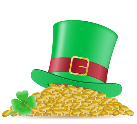 hat clover and coins St. Patrick`s day illustration isolated on white  illustration