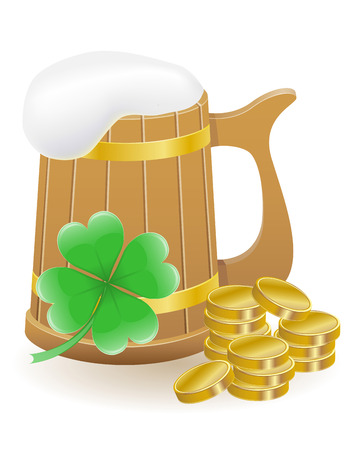 mag: mag beer clover and coins St. Patrick`s day vector illustration isolated on white background Stock Photo