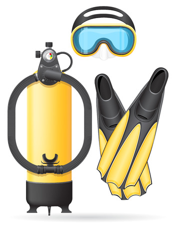 aqualung: aqualung mask tube and flippers for diving isolated on white background