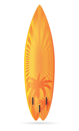 surfboard: surfboard with a landscape vector illustration isolated on white background Stock Photo