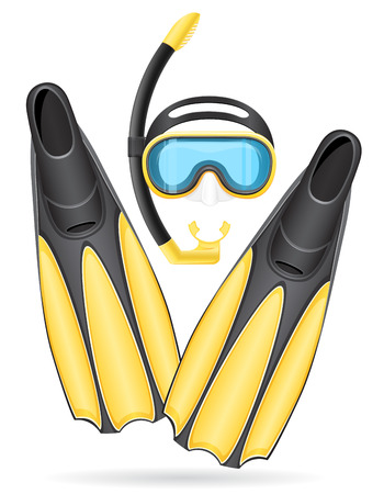 flippers: mask tube and flippers for diving isolated on white background
