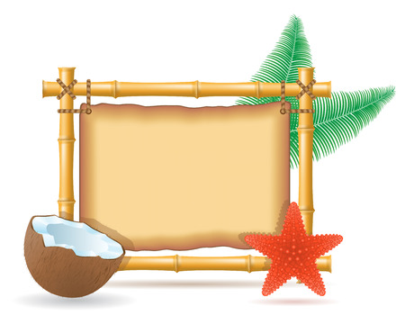 bamboo frame and coconut vector illustration isolated on white background Vector