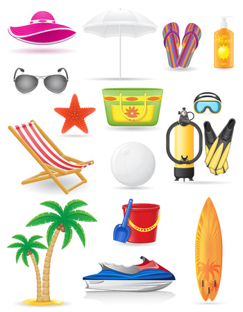 set of beach icons vector illustration isolated on white background Vector