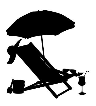 해변의 자와 우산 벡터 일러스트 레이 션의 실루엣 흰색 배경에 고립