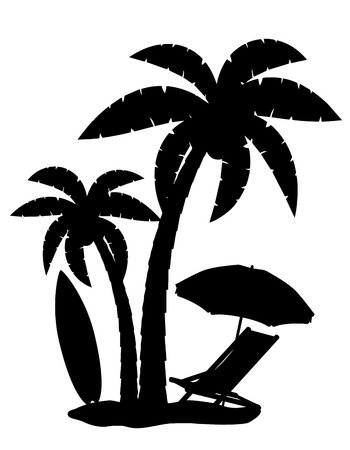 silhouette of palm trees vector illustration isolated on white background Ilustração