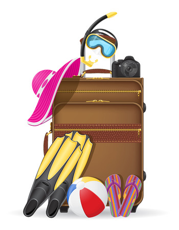 travel locations: suitcase with beach accessories vector illustration isolated on white background Illustration