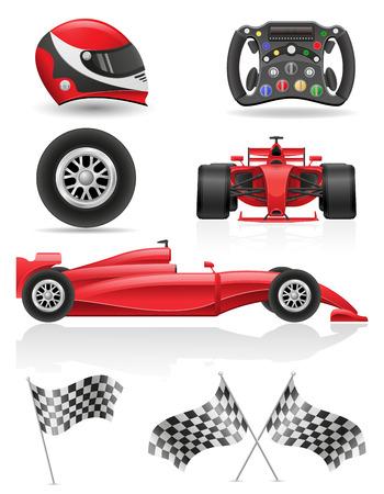 drag race: set racing icons  illustration isolated on white background