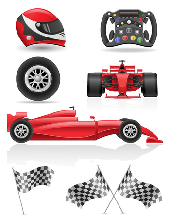 racecar: set racing icons  illustration isolated on white background