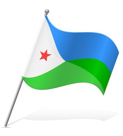 flag of Djibouti vector illustration isolated on white background Stock Photo