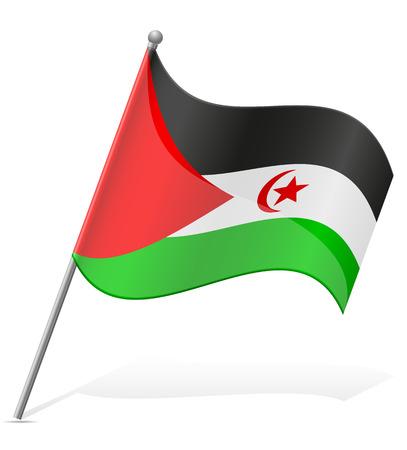 sahrawi arab democratic republic: flag of Sahrawi Arab Democratic Republic vector illustration isolated on white background