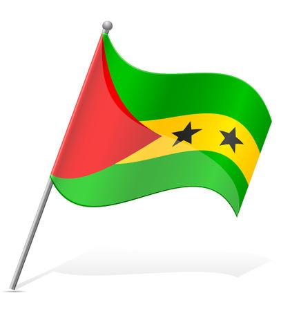 principe: bandera de Sao Tome Principe ilustración vectorial aislados en fondo blanco