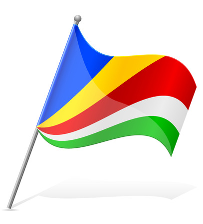 seychelles: flag of Seychelles vector illustration isolated on white background Stock Photo